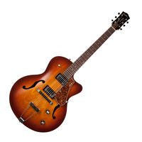 Godin 039289 5th Avenue CW Kingpin II HB Cognac Burst 6 String RH Hollow Body Guitar with Tric Case