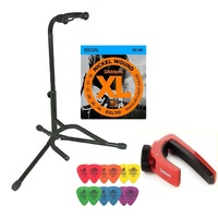 Electric Guitar Accessory Pack Stand EXL110 strings 12 Mixed Tortex Picks Capo