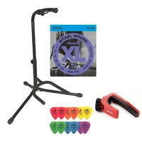 Electric Guitar Accessory Pack Stand EXL115 strings 12 Mixed Tortex Picks Capo