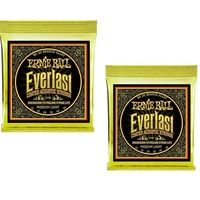 2 x Ernie Ball 2556 Everlast Coated 80/20 Bronze Acoustic Guitar Strings 12 - 54