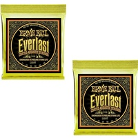 2 x Ernie Ball 2558 Everlast Coated 80/20 Bronze Light Acoustic Strings 11 - 52