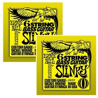 2 x Ernie Ball 6-string Slinky Nickel Wound Short Scale Bass Set small ball ends