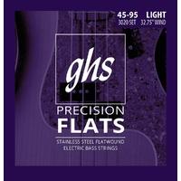 "GHS Strings Short Scale 4-String Bass Precision Flats Flatwound, 32.75"" Winding 45-95"