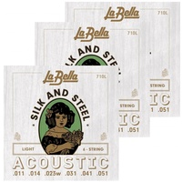 3 Sets La Bella 710L Silk and Steel Acoustic Guitar Strings light gauges 11 - 51