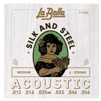 La Bella 710M Silk and Steel Acoustic Guitar Strings Medium 12 - 56
