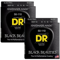 2 sets DR Strings BLACK BEAUTIES Taper Coated 4-String Bass Heavy (50-110)