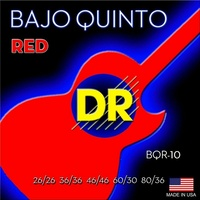 DR Strings BQR-10 Bajo Quinto Neon RED Coated 10 String Set