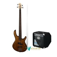 Cort Action Junior Short Scale Bass Guitar Open Pore Walnut with 15W Bass Amp