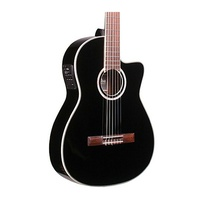 Cordoba Fusion 12 Jet Black Acoustic/Electric Nylon String Guitar w/ Gigbag