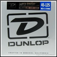 Dunlop DBSBN45125 Super Bright Nickel Medium 5-String Bass Guitar Strings 45-125