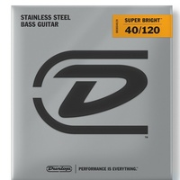 Dunlop Super Bright Stainless Wound 5-String Electric Bass Strings, Light 40-120