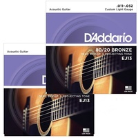 2 Sets D'addario EJ13 80/20 Bronze Custom Light Acoustic Guitar Strings 11 - 52