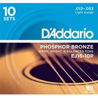 10 Pack D'Addario EJ16 Phosphor Bronze Light Acoustic Guitar Strings 12 - 53