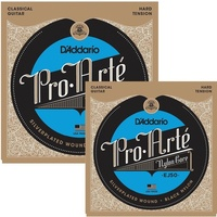 2 x D'Addario EJ50 Pro-Arte Black Nylon Classical Guitar Strings, Hard Tension