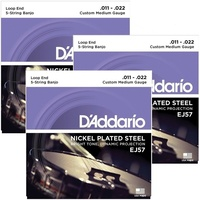 3 Sets D'Addario EJ57 Nickel 5-String Banjo Strings, Custom Medium, 11 - 22