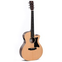 Sigma GMC-STE Grand OM Acoustic Guitar w/ Solid Spruce Top Cutaway & Pickup