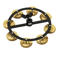 Meinl Percussion HTHH1B-BK Hi-Hat Tambourine / Single Row Hammered Brass Jingles
