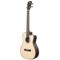 Kala Solid Spruce Top Striped Ebony - Baritone Ukulele  w/ Cutaway and EQ and hard case