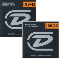 2 sets Dunlop DEN0942 Nickel Plated Steel Light Electric Guitar Strings 9 - 42