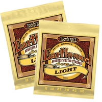 2 x Ernie Ball 2004 Earthwood 80/20 Bronze Light Acoustic Guitar Strings 11 - 52