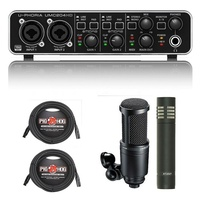 Behringer U-PHORIA UMC204HD interface + AT2020/AT2021 Mic's + cables EOFY Sale