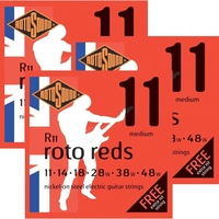 3 sets Rotosound R11  Roto Reds Electric Guitar Strings Medium 11 - 48