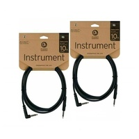 "Planet Waves 10ft Classic Series 1/4"" Instrument Cable Right Angle/Straight x 2"