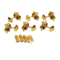 Grover Sta-Tite V97G guitar tuners 14:1 solid peghead gold butterbean set of 6