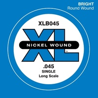D'Addario XLB045 Nickel Wound Bass Guitar Single String, Long Scale.045